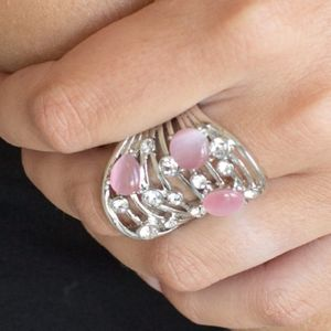 """Clear The Sway"" - Pink Moonstone Silver Ring"